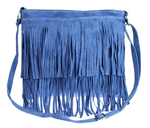 Girly Handbags Veloursleder-Franse-Umhängetasche (Blau)