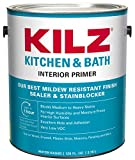 KILZ L204511 Kitchen & Bath Interior Latex Primer/Sealer/Stainblocker with Mildew-Resistant Finish, White,...