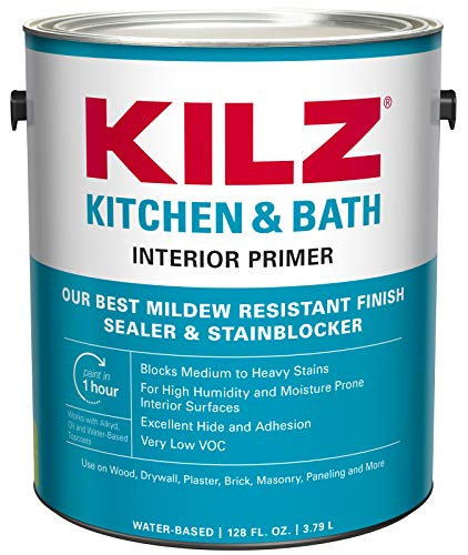 KILZ L204511 Kitchen & Bath Interior Latex Primer/Sealer/Stainblocker with Mildew-Resistant Finish, White, 1-Gallon, 1 Gallon, 4 l