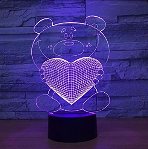 3D Night Lamp Cartoon Cute Heart Bear Hold Heart Shape Acrylic Color Change for Baby Sleeping Lighting Birthday and Holidayfor Children