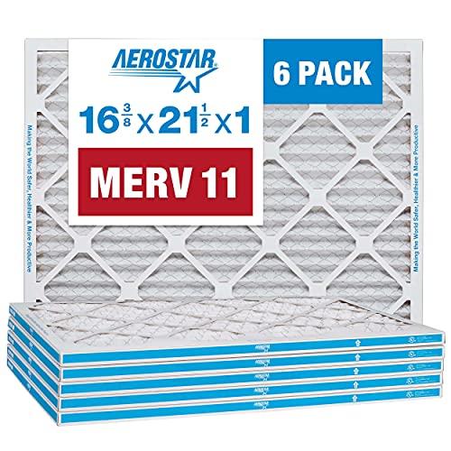"Aerostar 16 3/8 x 21 1/2 x 1 MERV 11 Pleated Air Filter, AC Furnace Air Filter, 6 Pack (Actual Size: 16 3/8""x21 1/2""x3/4"")"