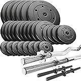 Trex Hantelset Lang-, Curl- und Kurzhantelstange mit Gewichten 50kg bis 160kg zur Wahl (130kg)