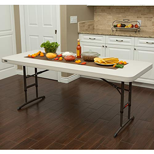 Lifetime 80752 Commercial Adjustable Height Folding Table, 6-Foot, White Granite