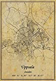 Sweden Uppsala Map Wall Art Poster Canvas Print Vintage Style Unframed Decor Gift 16X20 inch