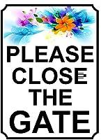 ゲートを閉じてください壁の金属ポスターレトロなプラーク警告ブリキの看板ヴィンテージ鉄の絵画の装飾オフィスの寝室のリビングルームクラブのための面白い吊り工芸品