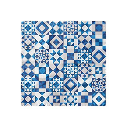 "Lunarable Navy Blue Head Scarf, Portuguese Azulejo Tiles, Hair Wrap, 35"" X 35"""