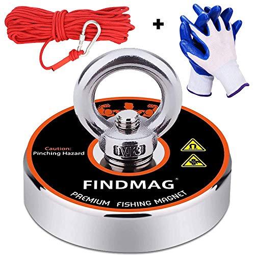 Superstarke Neodym- Angelmagnete Kraftvolle Magnete Angeln mit 65Ft(20M) Nylonseil, Karabinern und Handschuhen, 400Lbs(181Kg) Zugkraft Starker Neodym-Magnet für Bergung, Angeln und Bergung