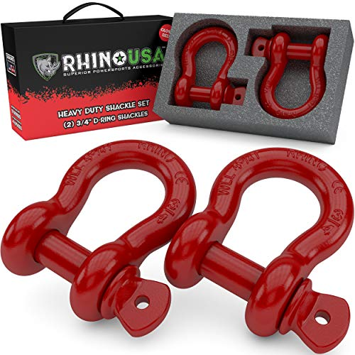 """Rhino USA D Ring Shackle (2 Pack) 41,850lb Break Strength – 3/4"""" Shackle with 7/8 Pin for use with Tow Strap, Winch, Off-Road Jeep Truck Vehicle Recovery, Best Offroad Towing Accessories (Red)"""