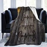 QIUTIANXIU Mantas para Sofás de Franela 150x200cm Halloween Set Spooky Dungeon Door con Dos antorchas encendidas Manta para Cama Extra Suave
