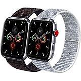 Vancle コンパチブル Apple Watch バンド 38mm 40mm 42mm 44mm ナイロンスポーツループバンド iWatch Series 5/4/3/2/1に対応 (38mm/40mm, 2色セット ミックスブラック+グレー)