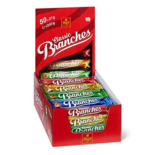 Frey 50 Branches Classic - Barres de chocolat - Présentoir de 50 barres de chocolat au lait fourrées à la crème aux noisettes - Fabriqué en Suisse - Lot de 50 Snacks emballage individuel Certifié UTZ