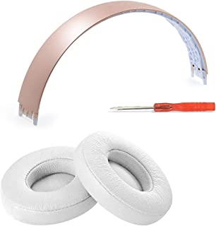Replacement Headband pad and Foam Earpads Ear Pads Cushion Repair Kit Compatible with Solo3 Solo 3 Solo 2 Solo2 Wireless Headphones (Rose Gold Headband+White Earpads)