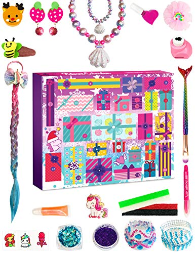 Price comparison product image Purple Ladybug 2020 Advent Calendar for Girls with 24 Unique Gifts - Unicorn & Mermaid Themed Items,  Hair Accessories,  Jewelry