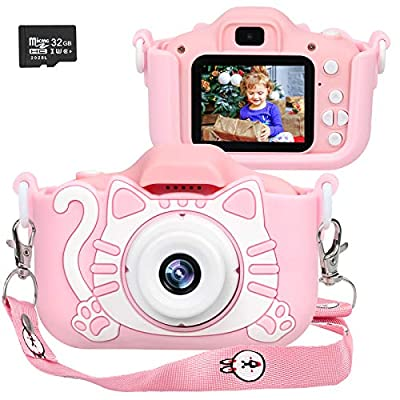 Langwolf Kids Camera for Girls, Digital Camera for Kids, Upgraded 1000mAh Battery Toys Children Selfie Photo Video Camera with 32GB SD Card, Gifts for Girls Age 3 4 5 6 7 8 9 Years Old