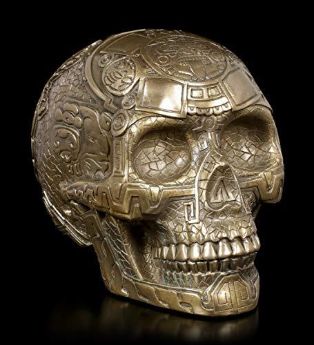 Figuren Shop GmbH Gothic Totenkopf - Azteken Schädel | Fantasy Skull, bronziert