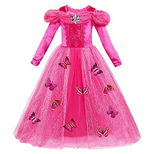 Eleasica Vestido de Cenicienta para Nia Infantil Disfraz de Cinderella Ropa formal azul rosa amarillo con lentejuelas de manga larga Regalo Conjunto Broches de Mariposa Cosplay Cenicienta Salon Baile