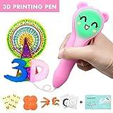 ARTISTORE 3D Drucker Stift für Kinder 3D Printing Pen mit LED-Licht, Schablonen, Kunststoffformen, Emoji Aufkleber, Bedienungsanleitung, 2 PCL Niedertemperatur-Filamente beste Geschenke für Kinder