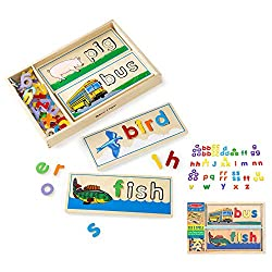 Place colourful wooden letters in their proper places to spell words on the cut-out 2-sided wooden boards 10 x 2-sided picture boards (20 pictures) Over 70 colourful letters Wooden storage box For ages 4 years and over