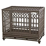 SMONTER Heavy Duty Dog Crate Strong Metal Pet Kennel Playpen with Two Prevent Escape Lock, Large Dogs Cage with Wheels, Y Shape, Brown (Strengthen-38INCH, Brown)