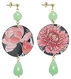 IN Lebole Collezione The Circle DOR13 Fiore Rosa Orecchini da Donna in Ottone Pietra Verde Giada