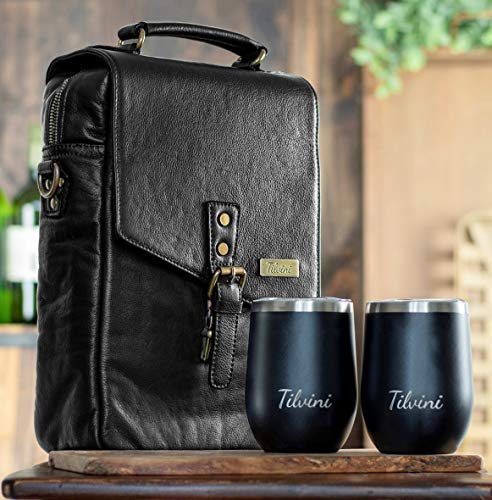 Wine Carrier Bag With 2 Stainless Steel Wine Tumblers With Lid. Insulated Leather Wine Bottle Carrier Caddy. Wine Gifts for Women And Men. Picnic Basket Tote Cooler Gift Set & Glasses Accessories Bags