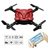 Goolsky FQ777 FQ17W 6-Axis Gyro Mini WiFi FPV Foldable G-Sensor Pocket Drone with 0.3MP Camera Altitude Hold RC Quadcopter (Red)