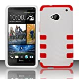 TRENDE - HTC One Phone Case White on Pink Tuff Armor Fusion Design Rugged Rubberized Cover + Free Gift Box (Compatible Models: HTC One M7)