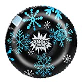 TOPEST Snow Tube, Super Big 47 Inch Inflatable Snow Sled with Double Layer Bottom & Strengthened Handles, Heavy Duty Snowflake Snow Tubes for Kids and Adults (Upgraded Version (Black)
