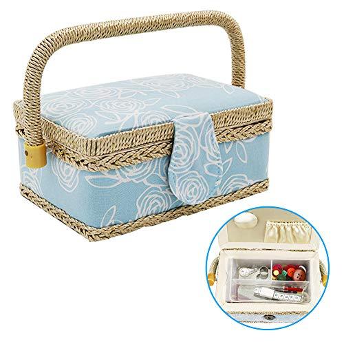 Cajas de costura con compartimentos, cesta de costura con asa y bandeja extraíble, caja de almacenamiento con estampado floral, caja de costura de tela para manualidades, azul, Tamaño libre