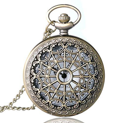 FEELHH Reloj De Bolsillo De Cadena Vintage,Antigüedades De Bronce Cuarzo Telaraña Steampunk Mujeres Hombres Huecos Cadena Colgante Collar Regalos