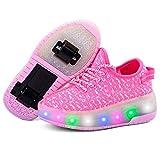 Getrichar Niñas, niños y niños Soltero/Doble Rueda LED Parpadeante patineta Zapatos Rodillo Zapatillas de Deporte (Color : I, Size : 33)
