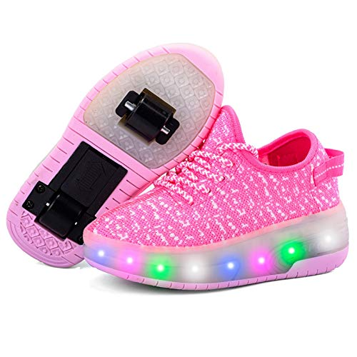 WFSH Mädchen, Jungen und Kinder Einzel- / Dual-Rad-LED blinkende Skateboard-Schuhe Roller Skatne Turnschuhe (Color : I, Size : 28)