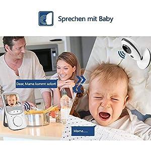 """Babyphone 2.4 GHz Baby Monitor 2.4""""HDDigitalVideo BabykameraMitVOXFunktionWirelessWeiß…"""