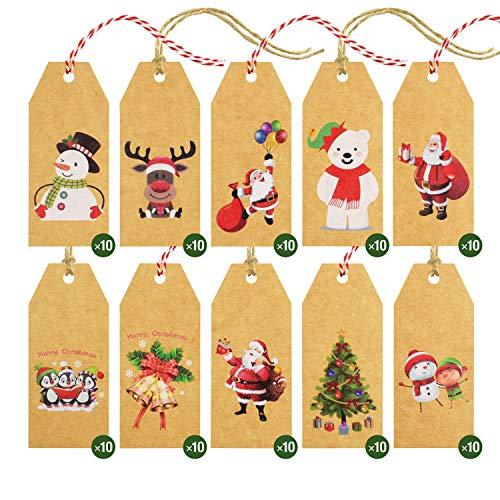 Etiquetas para regalos de Navidad, etiquetas de papel Kraft etiqueta regalo para colgar etiquetas de papel Kraft etiqueta...