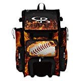 Boombah Rolling Superpack 2.0 Baseball/Softball Gear Bag - 23-1/2' x 13-1/2' x 9-1/2' - Fire Ball Black/Orange/White - Telescopic Handle - Holds 4 Bats - Wheeled Version