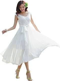 Women's Sleeveless Pleated Prom Party Chiffon Hot Summer Long Dress