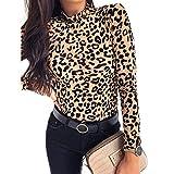 Camiseta de Mujer con Estampado de Leopardo y Cuello de Tortuga de Primavera Otoño Camisas de Manga Larga para Fiesta Casual Ropa de Mujer Blusas y Tops. (Leopardo, M)