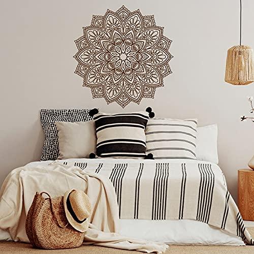 Diseño de interiores creativo Bohemio Boho Mandala calcomanías de pared decoración del hogar para sala de estar dormitorio cabecera pegatina Mural A18 57x57cm