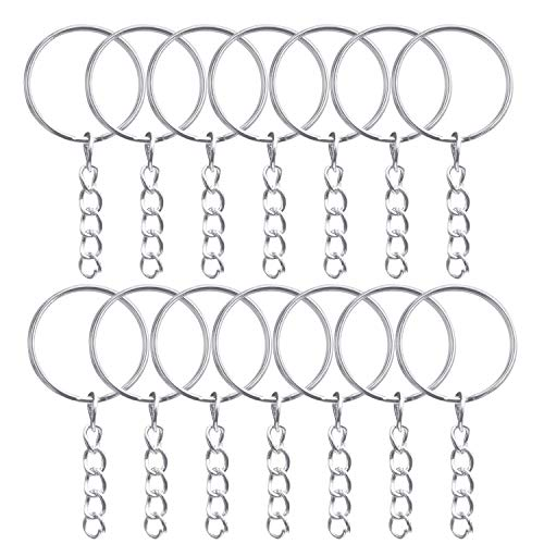 Kurtzy Schlüsselanhänger Kette (100 Stück) - 21mm Durchmesser Schlüsselanhänger & Spaltringe (100 Stück) - Schlüsselanhänger mit Gliederkette für Schlüssel, DIY Schmuckherstellung & Bastelprojekte