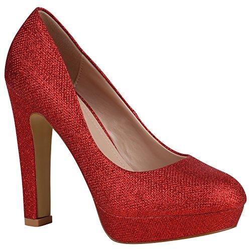 Damen Schuhe Pumps Plateau Party High Heels Lack Blockabsatz 157147 Rot Glitzer Avion 37 Flandell