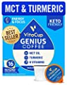 Vitacup Genius Keto Coffee Pods with MCT Oil, Turmeric and Vitamins B1, B5, B6, B9, B12, D3 for Energy & Focus in Recyclable Single Serve Pod Compatible with K-Cup Brewers Including Keurig 2.0