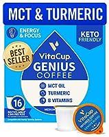 VitaCup 天才 ブレンド コーヒー ポッド 16ct エネルギー と フォーカス MCT ターメリック と シナモン |ケト |パレオ |全体 30 |ビタミン B1 B5 B6 B9 B12 D3 | 互換性 K カップ ブルワーズ キューリグ 2.0 含む