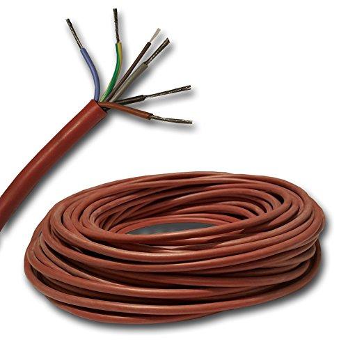 Meterware siliconen kabel saunakabel SIHF op de meter nauwkeurig! SIHF-J 5x4 mm2 (5G4 mm2) 100% OFC koper vertind - Gratis verzending - koop alleen wat je nodig hebt. Keuze uit stappen van 1 meter. 23 Meter 5 x 4 mm² Mantel roze tot rood, puur ovc koper vertint, fijne aderig
