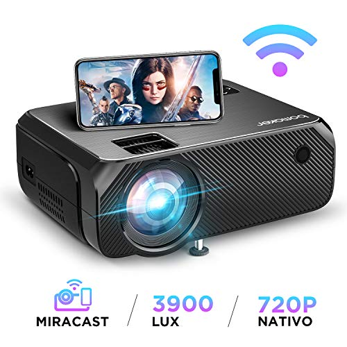 Proiettore WiFi, BOMAKER Videoproiettore Wifi Wireless, 3900 Lumen, Risoluzione Nativa 1280x720p, Supporto Full HD 1080P, 300'' Display/Andiord /IOS/HDMI/VGA/SD/AV/USB per Home Cinema e All'aperto