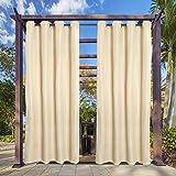 Clothink Outdoor Vorhang - B:132xH:215cm Beige - mit Ösen - Winddicht Wasserabweisend Sichtschutz Sonnenschutz