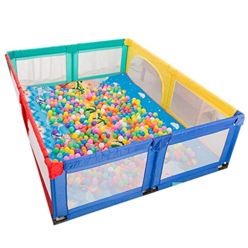 FFYN Parque para niños Corralitos Extra Grandes para Gemelos, los niños viajan con tapete para el Piso, área de Juegos para niños de Tela Oxford, Incluidas Pelotas y tapetes (Color: Multicolor)