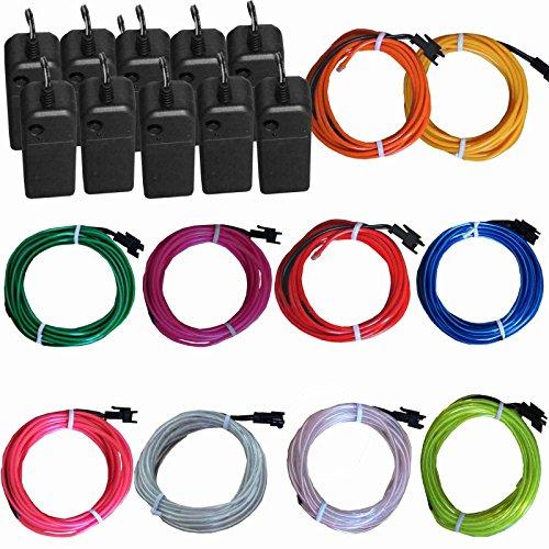 TDLTEK 10 Pack El Wire Neon Lights for Halloween, Burning Man, Party,...