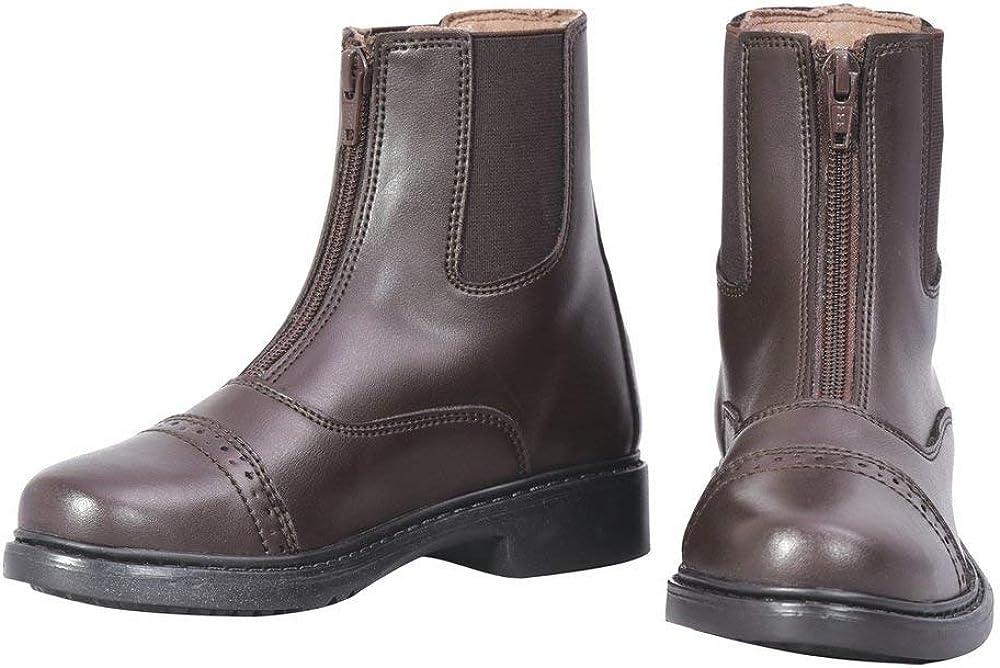 TuffRider Children's Starter Front Zip Paddock Boots, Mocha, 10