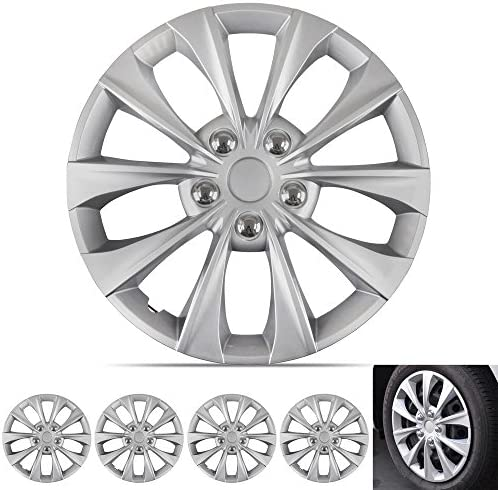 BDK Silver Hubcaps Wheel Covers 16 inch Four 4 Pieces Corrosion Free Sturdy Full Heat Impact product image