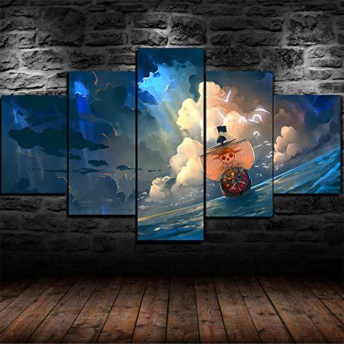 GIRDSS Kunstdrucke Moderne Druck Malerei Hintergrund Dekoration Modulare 5 Teiliges Wandbild Anime One Piece The Thousand Sunny Poster Wandkunst Leinwand Creative Geschenk Kunstwerk 200X100 cm